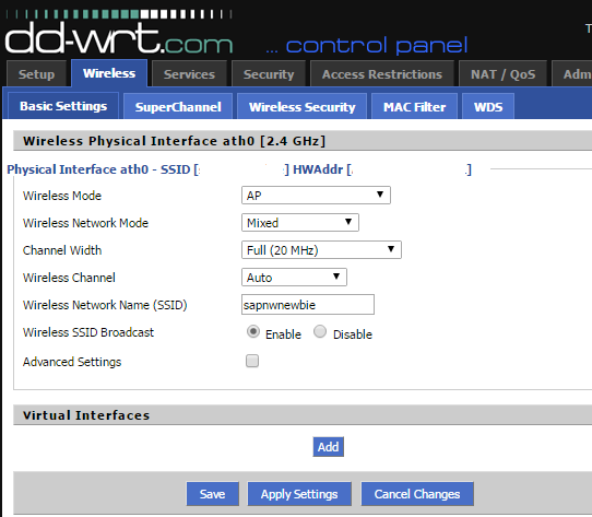 DD-WRT wireless SSID setting