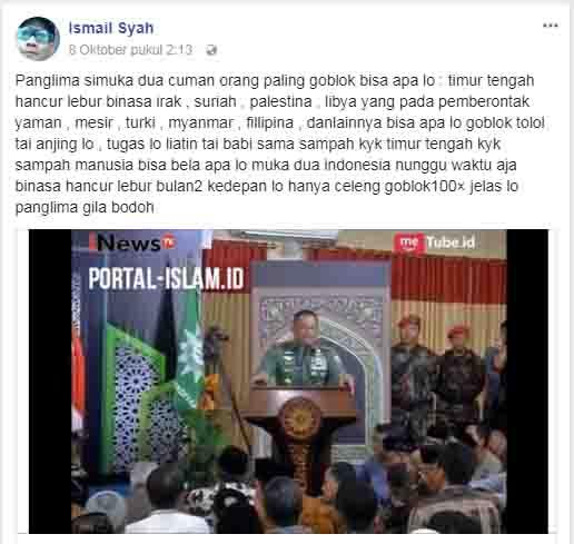 "Hina Panglima Gatot, Avin Lee sebut Panglima TNI ""Manusia Goblok Tolol Tai Anjing lo"""