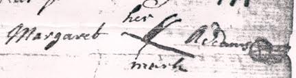 "Original version of Margaret Adams' ""X"" mark on her 1744 Will"