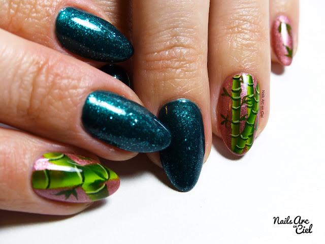 Nail Art - Forêt de bambous en one stroke par Nails Arc en Ciel