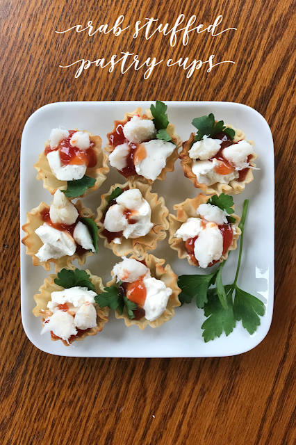 Crab Stuffed Pastry Cups #SundaySupper
