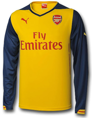 798428eef The Arsenal 14-15 Away Kit is yellow with navy sleeves and a red Puma Cat  logo on the chest and both sleeves. The Fly Emirates logo on the front of  the kit ...