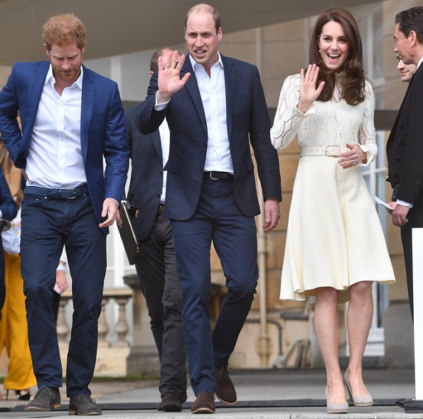 Prince William and Prince Harry . Kate Middleton wore See By Chloe cotton blend dress, Monsoon Fleur wedges and Acne Studios Leather waist belt