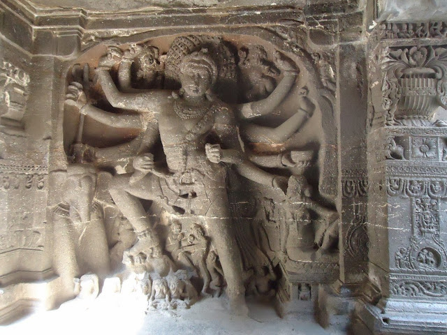Virbhadra statue carved out of rock at Kailash Temple, Ellora
