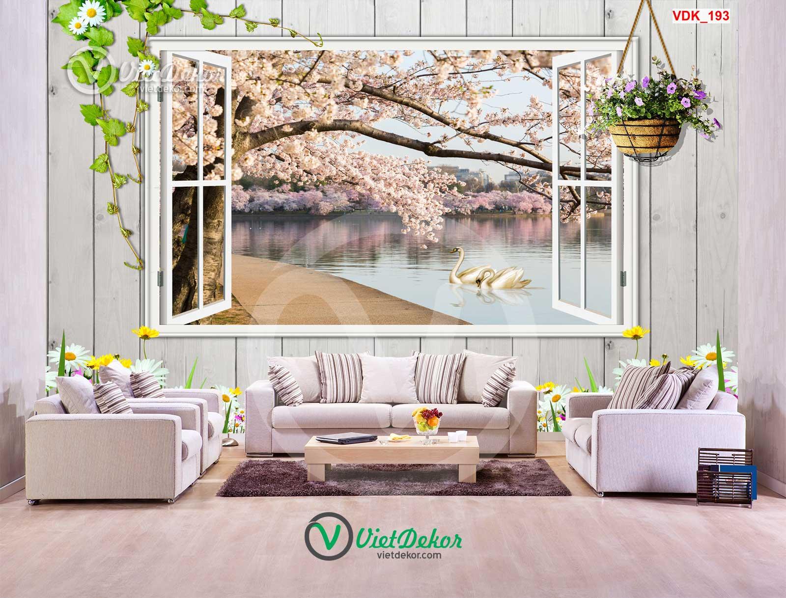Tranh dán tường 3d cửa sổ thiên nga hoa anh đào