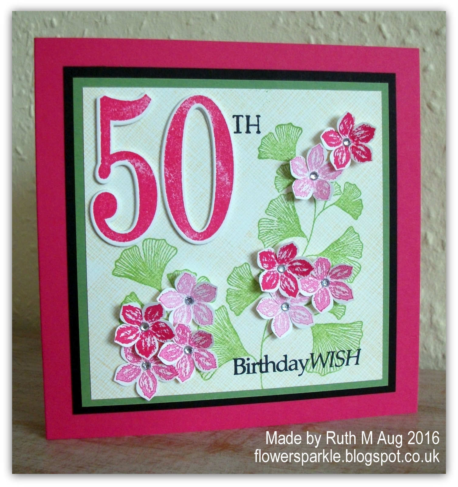 Flower Sparkle Flowers Ginkgo Leaves 50th Birthday Wish Card
