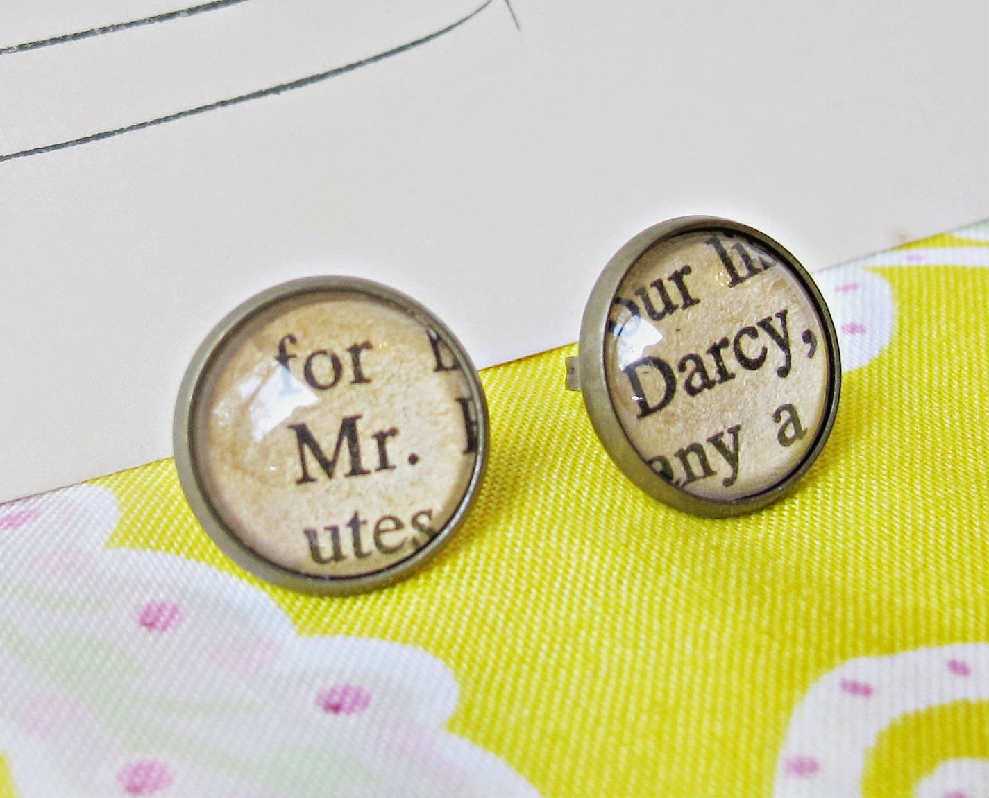 image mr darcy ear studs earrings asymmetrical pride and prejudice jane austen brass glass vintage two cheeky monkeys