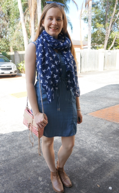 bird print scarf, chambray dress and ankle boots with striped mini MAC bag | away from blue
