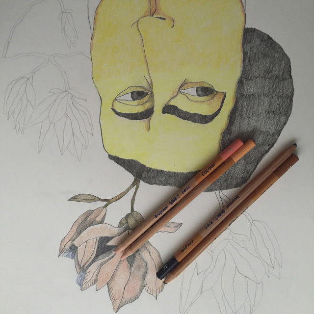 Retrato histórico. Ilustración de hombre. Lápices de Colores. Grafito. Proceso de dibujo.