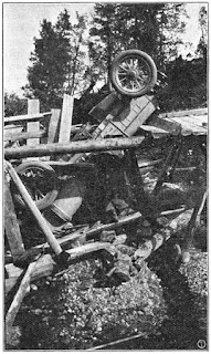 The Itala was left upside down after falling through a bridge but survived
