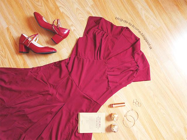 Retro Style V-Neck Wine Red 1940s Swing Dress