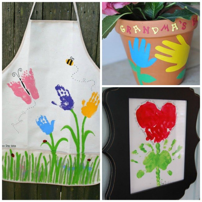 Handprint flower crafts for kids- these are so cute for Spring & make great gifts for mom (great keepsakes!)