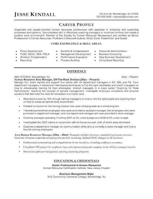 sample human resources manager resume sample resumes
