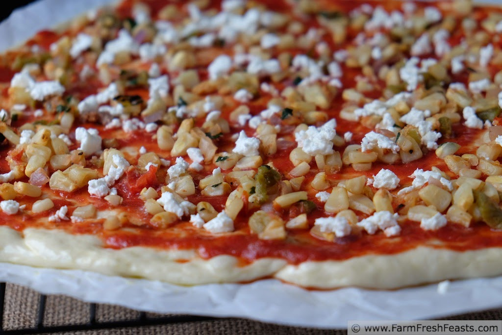 Fresh Corn, Hatch Chile & Feta Pizza | Farm Fresh Feasts