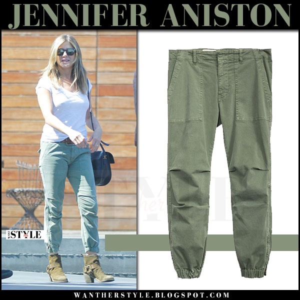 Jennifer Aniston in green military pants nili lotan what she wore may 11 2017 streetstyle
