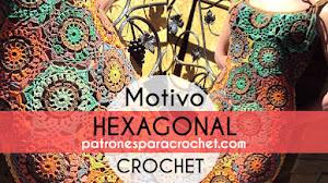 Patrones de motivo hexagonal a crochet explicado paso a paso
