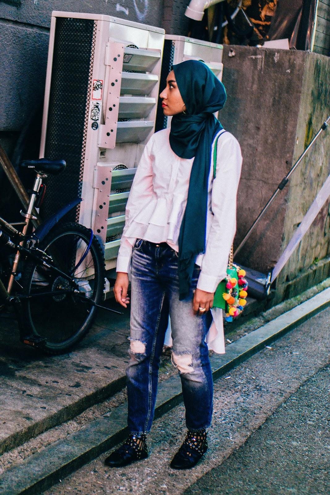 Zara Tiered Ruffles White Shirt Mango Ripped Jeans
