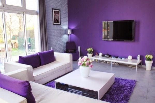 Warna cat ruang tamu deangan dominan ungu