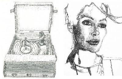 Arte con maquinas de escribir retrato de mujer bonita