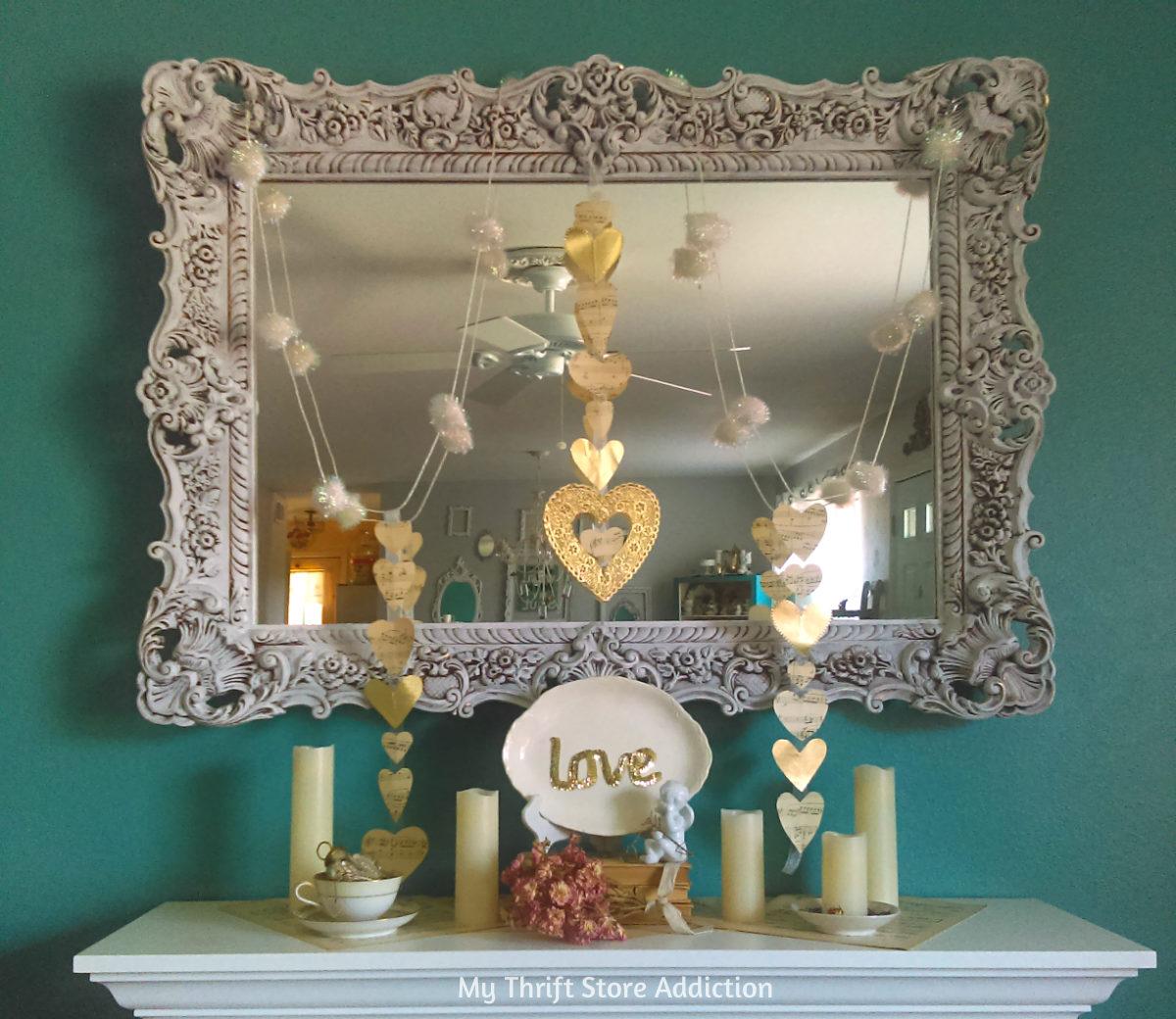 romantic Valentine mantel