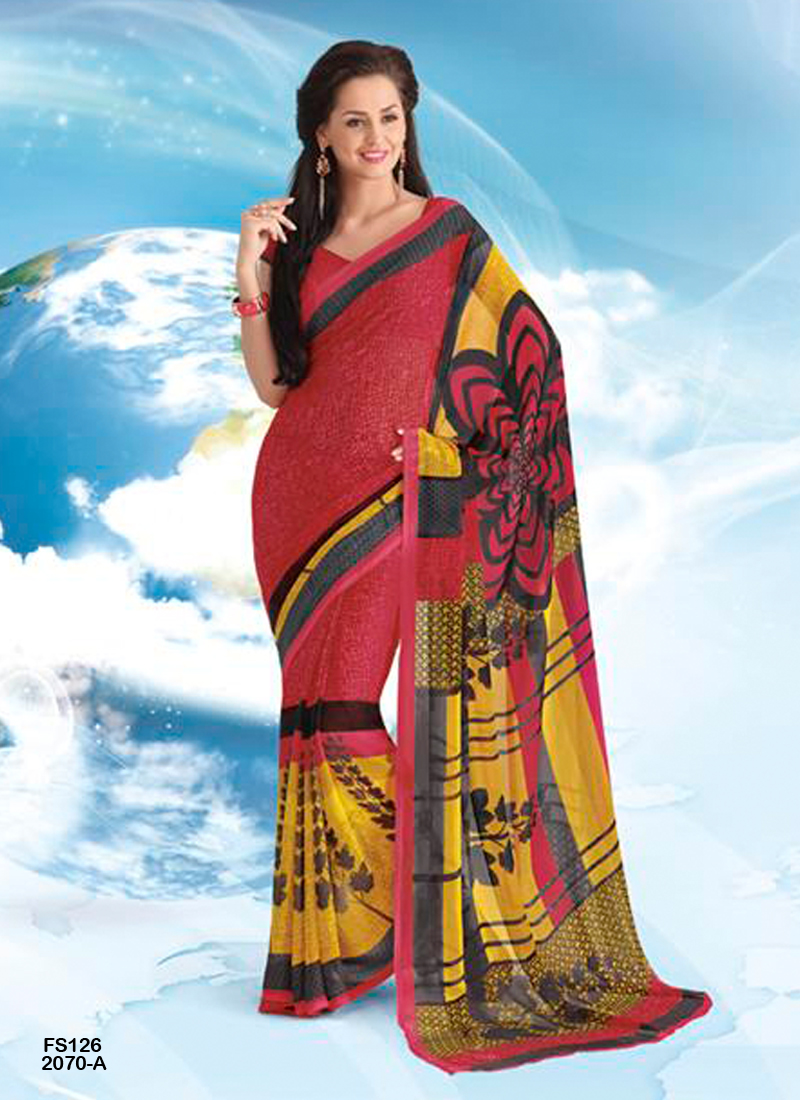 Pretty Lady 2 – Simple And Sober Printed Georgette Saree