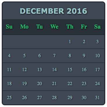 How To Create A Fancy HTML Calendar Styled With CSS That Uses Hover Enlarge To Expand The Days Of The Week On Mouseover