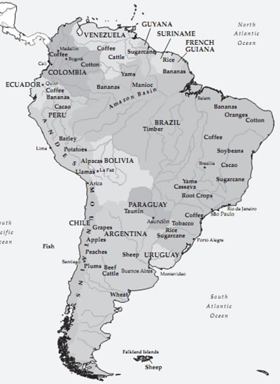 South American Agriculture Map