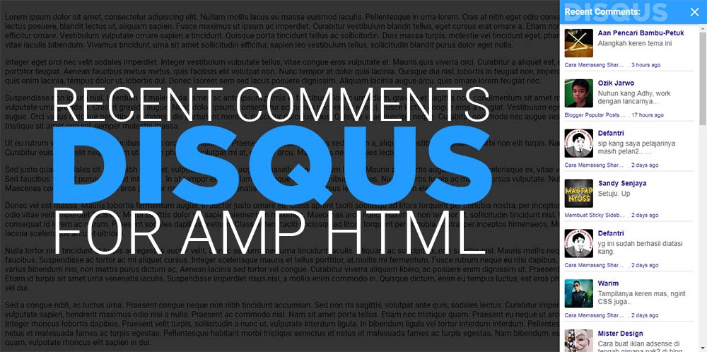 Widget Recent Comments Disqus Untuk Blog AMP HTML