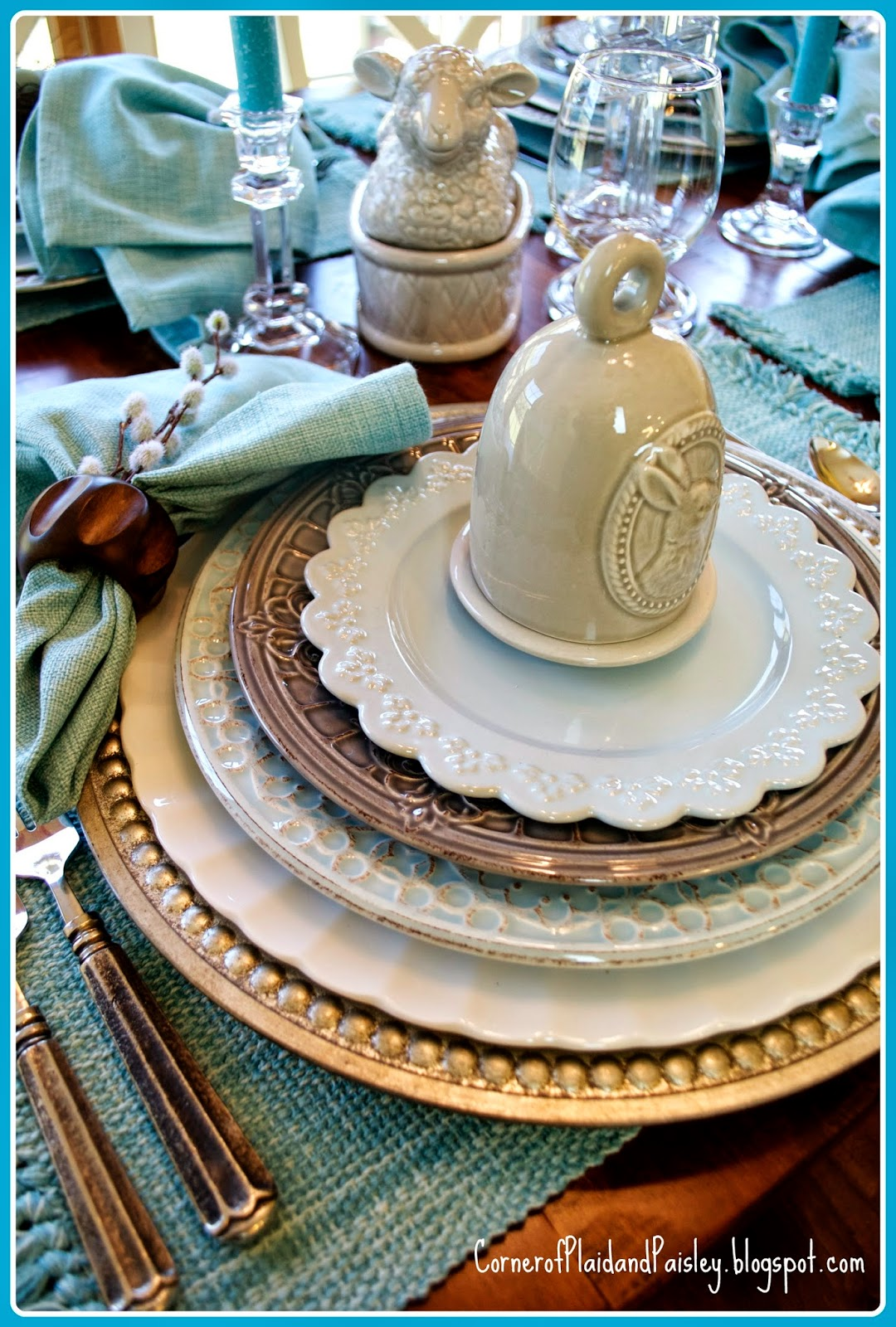 Corner Of Plaid And Paisley Easter Table