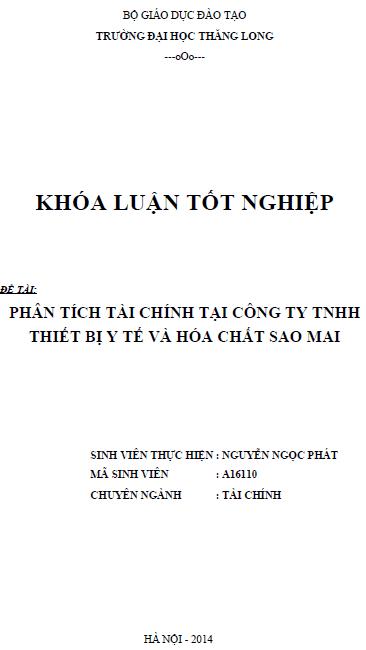 Phân tích tài chính tại Công ty TNHH thiết bị y tế và hóa chất Sao Mai