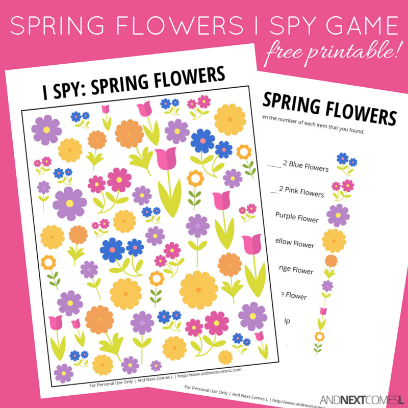 Spring flowers i spy game free printable for kids and next comes l free printable spring themed i spy game for kids from and next comes l mightylinksfo Choice Image