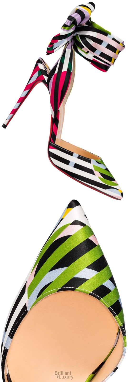 Brilliant Luxury♦Christian Louboutin Douce Du Desert Colorful Satin Crepe Cinestripes Sandals