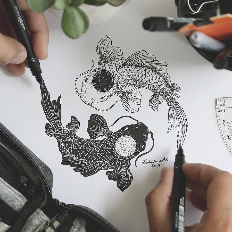 06-Koi-Fish-Yin-and-Yang-Joseph-Catimbang-Ink-Drawings-in-Various-Styles-www-designstack-co