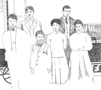 Brenda Wilbee's sketch of the Rapuzzi family, Skagway AK 1898