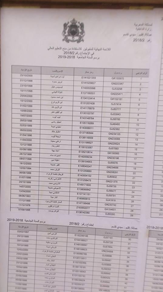 اللائحة الاضافية للاستفادة من المنحة الجامعية 2018/2019 ( اصحاب الطعون ) عمالة اقليم سيدي قاسم