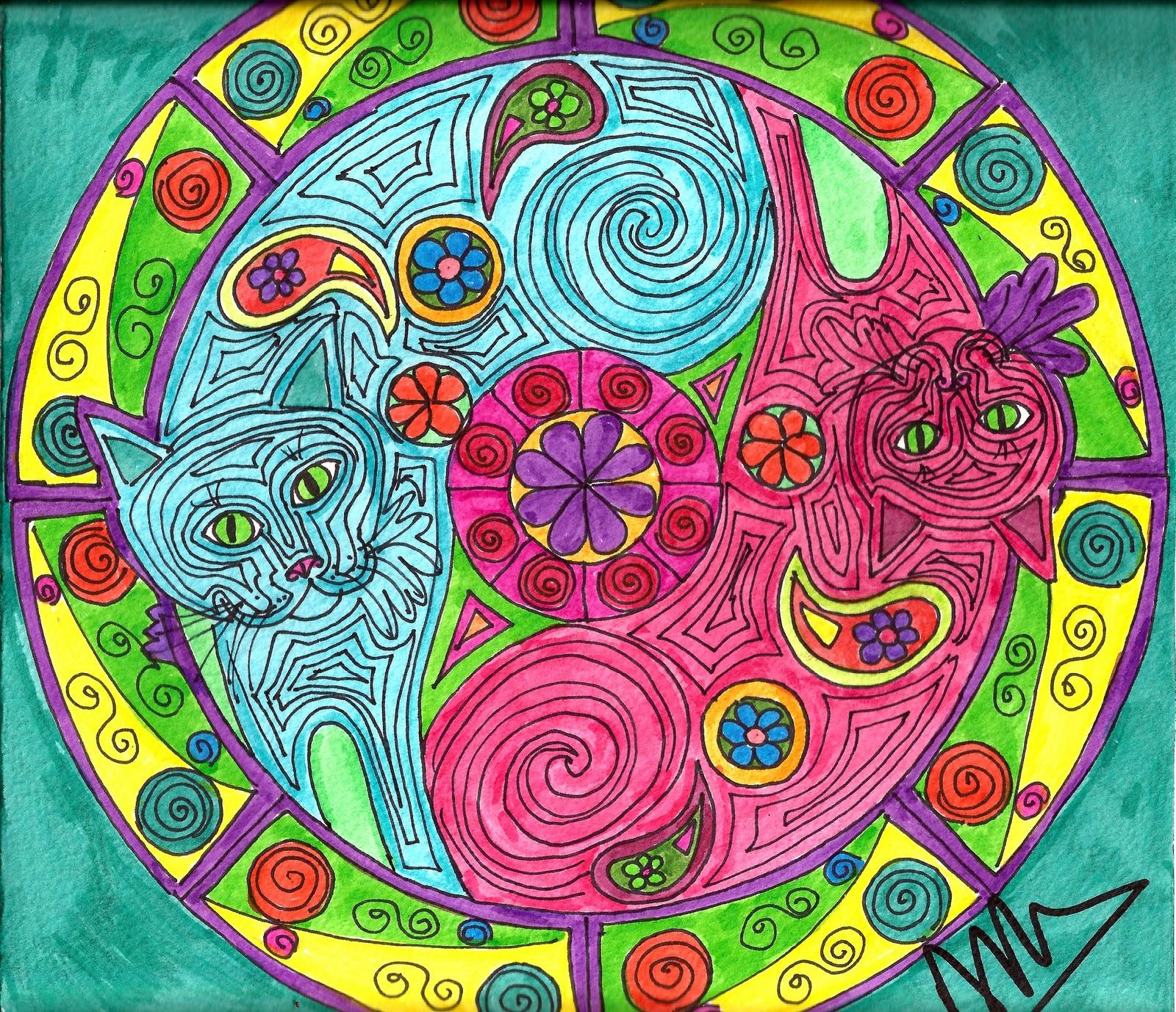 Adriana Azzolina Pinturas Mandala Gatuna - Pinturas-de-mandalas
