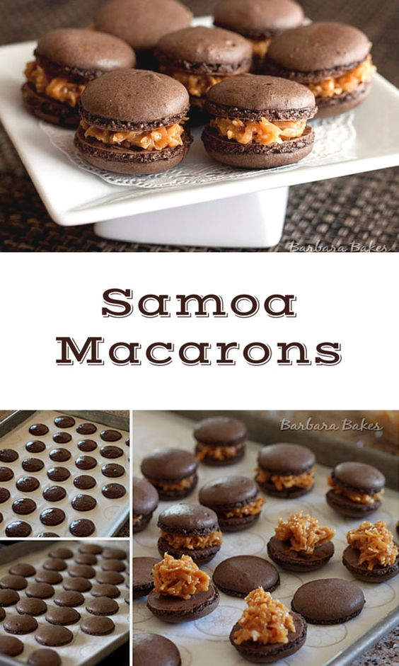 A rich, crisp on the outside, chewy on the inside chocolate macaron filled with caramel and toasted coconut. Samoa Macarons have the flavors of a Girl Scout Samoa cookie but dressed up for a macaron party.