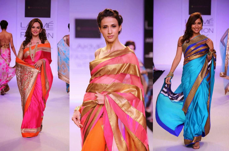 Fashion Metropolitan Mandira Bedi S Indian Designer Sarees At Lakme Fashion Week 2014