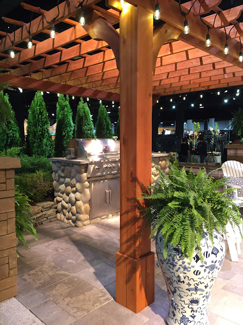 I know a chef who would love this pergola covered grill area! | Boston Flower Show