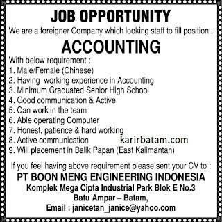 Lowongan Kerja PT. Boon Meng Indonesia