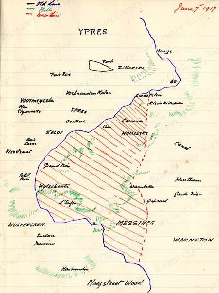 Drawing by Reverend JAG Birch, 5th Battalion DLI, of a map of Messines on 7 June 1917 (D/DLI 7/63/2(196))