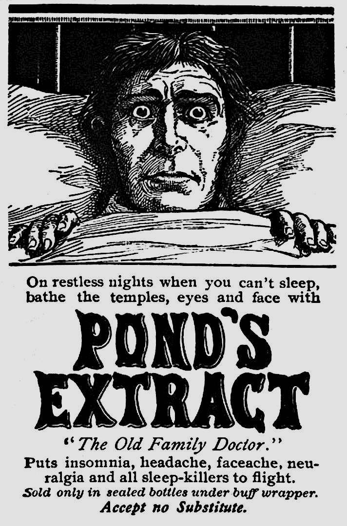 Ponds Extract 1800s advertisement, for insomnia