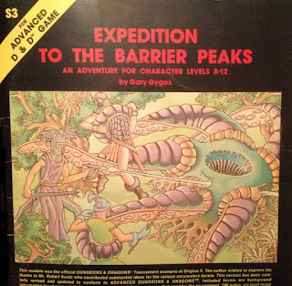 Cover art of S3 Expedition to the Barrier Peaks, TSR 1980, by Erol Otus