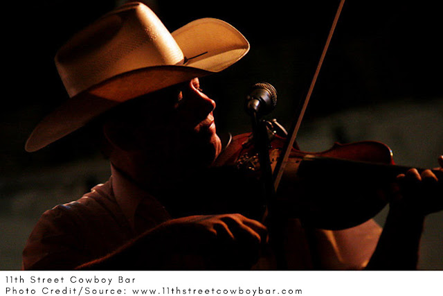 man in a cowboy hat playing the violin