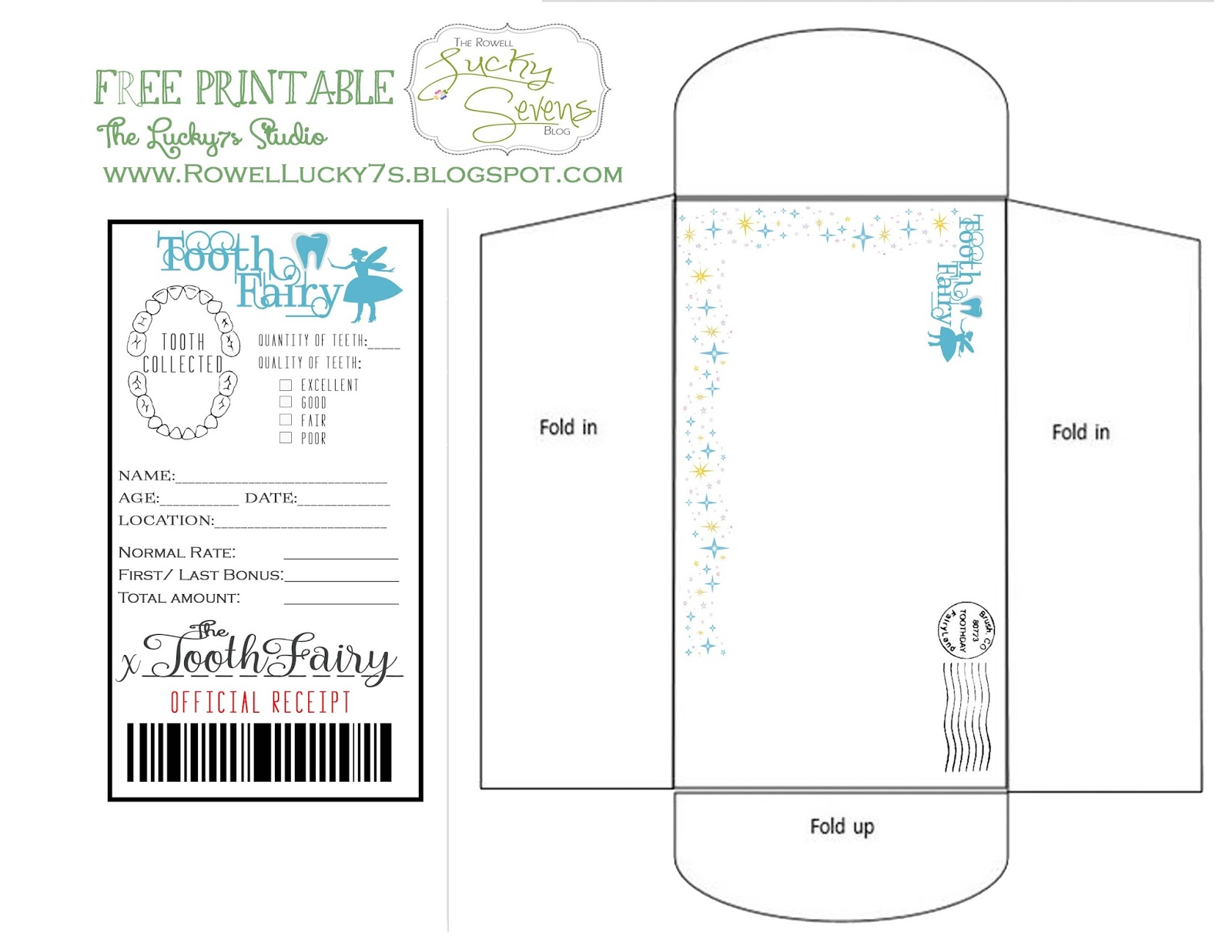 Lucky sevens tooth fairy visits and printable for Free printable tooth fairy certificate template