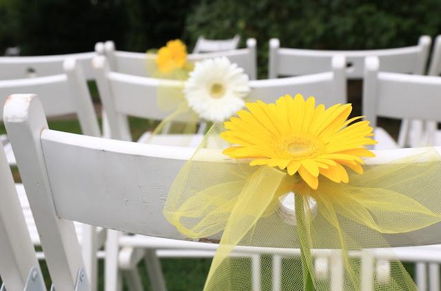 Come allestire matrimonio shabby chic giallo e bianco