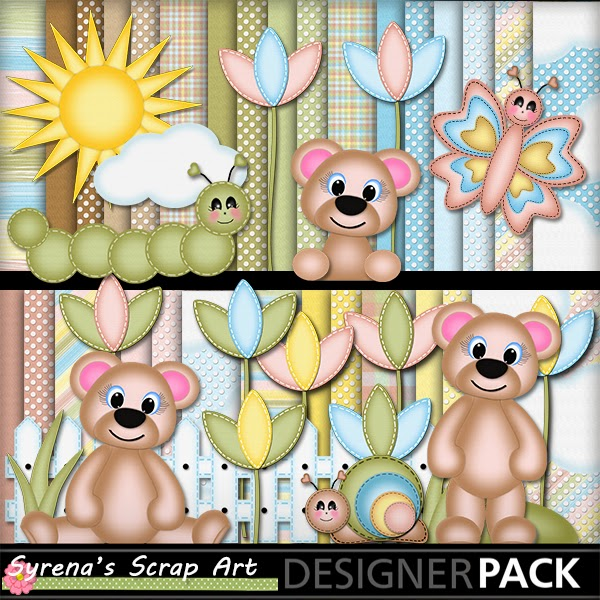 garden bears digital scrapbook kit