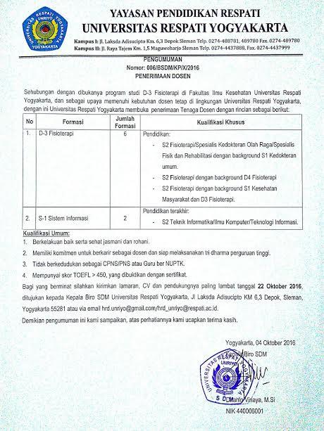 Lowongan Dosen Universitas Repati Yogyakarta