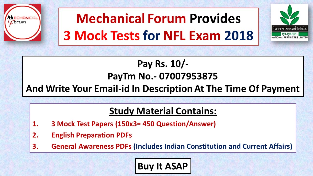 3 NFL Mock Tests, English and General Awareness PDFs, NFL