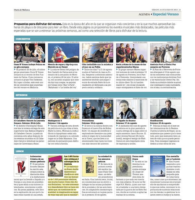Diario de Mallorca recomienda 'Las 1.001 fantasías...' como lectura de verano